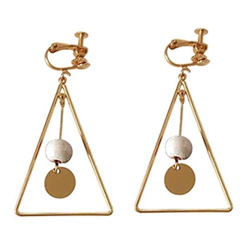 Screw Back Clip on Earring Clip for No Piercing Drop Dangle Triangle Gold-tone for Girl White - Earrings Screw Rhinestone Clip