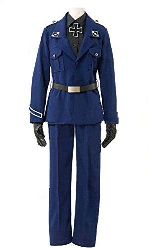 Hetalia Prussia Halloween Cosplay (LYLAS Halloween Party Suit Navy Blue Outfits Uniform Cosplay Costume)
