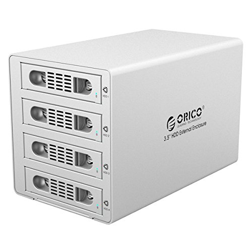 ORICO Aluminum 4 Bay 3.5 inch Hard Disk Drive Case HDD RAID Enclosure ,USB 3.0 & eSATA Support UASP and SATA III 6.0Gbps Speed (3549RUS3) by ORICO