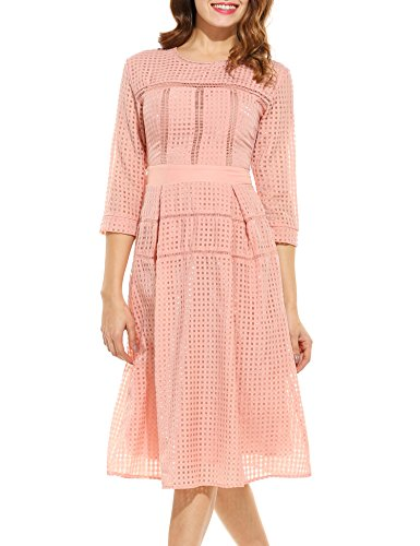 ANGVNS Women's Casual Half Sleeve Plaid O Neck Slim Color Lace Dress