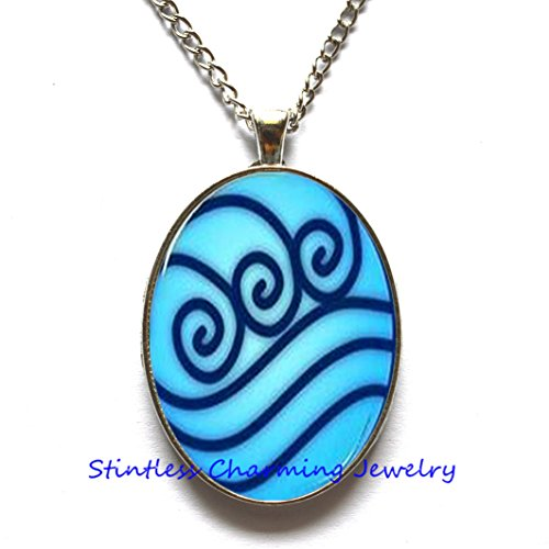 Water Tribe Glass Tile Necklace,air necklace,Water