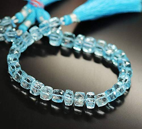 Beads Bazar Natural Beautiful jewellery Natural Blue Topaz Faceted Square Box Cube Gemstone Loose Craft Beads Strand 7