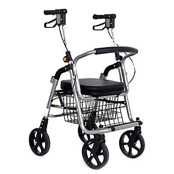 ShenZuYangShop Carrito de la Compra discapacitado Altura Ajustable Rueda de Correa con Walker Andador de aleación de Aluminio Plegable portátil Hombre Viejo ...