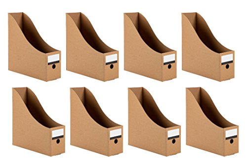 Magazine Holders - 8-Pack Corrugated Cardboard File Holders with Labels, Document and File Organizer, Kraft Paper ()