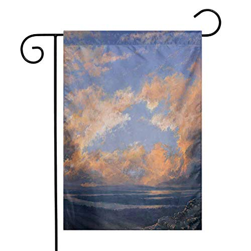 Scenery Garden Flag Clear Open Sky Landscape Sunset with Clouds Beams Ocean and Cliff Print Artwork Decorative Flags for Garden Yard Lawn W12 x L18 Multicolored