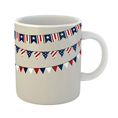 - Emvency Coffee Tea Mug Gift 11 Ounces Funny Ceramic Flag of Independence Day American Americana Gifts For Family Friends Coworkers Boss Mug
