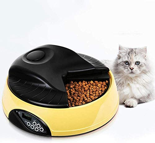 Pet Feeder for Cats Dogs Rabbits & Small Animals,4 Meal Trays Dry Wet Food Water Auto Feeder, with LCD Display Programmable, YELLOW