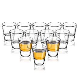 ELIVIA Shot Glass Set with Heavy Base, 1.2 oz Clear Glasses for Whiskey and Liqueurs (12 pack) – JM01