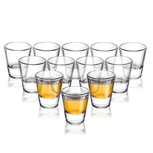 ELIVIA Shot Glass Set with Heavy Base, 1.2 oz Clear Glasses for Whiskey and Liqueurs (12 pack) - JM01 |