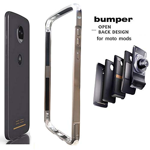 Moto Z4 Case Bumper,Compatible Moto Mods Dngn Luxury [Aluminum Metal Frame Cover] [4 Corner TPU Shockproof] for Motorola Moto Z4/z4 Play (Sliver)