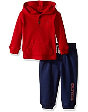 Tommy Hilfiger Baby Boys' Thermal Hooded Top with Fleece Pant