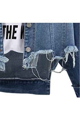 Tendenza Stlie Taglie Irregular Primaverile Fidanzato Giovane Tempo Blu Grazioso Libero Coat Donna Giacche Bavero Cappotto Jeans Forti Baggy Autunno Moda Giacca Lunga Manica EU6qqZ1