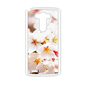 Personalized Clear Phone Case For LG G3,glam whtie flowers elegant design