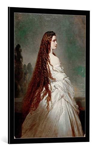 kunst für alle Framed Art Print: Franz Xavier Winterhalter Empress Elisabeth with Loose Hair in a Neglige - Decorative Fine Art Poster, Picture with Frame, 23.6x33.5 inch / 60x85 cm, Black/Edge Grey