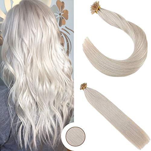 Ugeat 18inch 100Gram U Tip Human Hair Extensions Color #60 Platinum Blonde Human Hair Nail Tip Extensions Seamless Hair Extensions