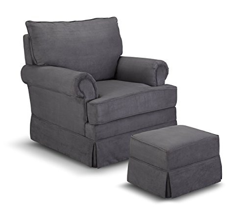 Thomasville Kids Grand Royale Upholstered Swivel Glider and Ottoman, Gray by Thomasville Kids