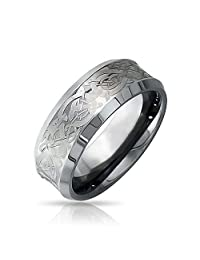 Silver Tone Celtic Knot Dragon Inlay Couples Concave Wedding Band TungstenRingsforMen for Women Comfort Fit 8mm