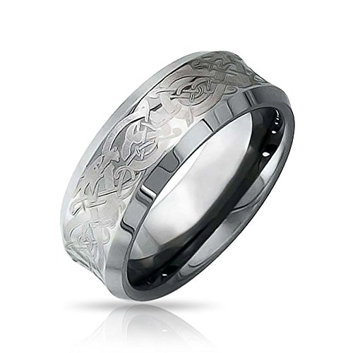 Bling Jewelry Silver Tone Celtic Knot Dragon Inlay Couples Concave Wedding Band Tungsten Rings for Men for Women Comfort Fit 8MM