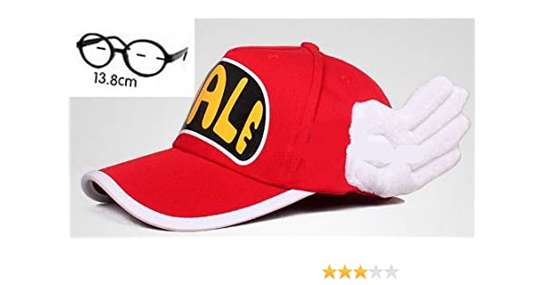 Set of 2 adult version cosplay and glasses. Slump Arale-style red ...