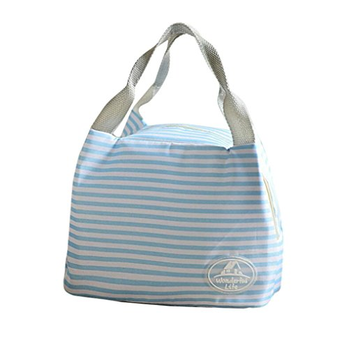 Price comparison product image SanCanSn Lunch Bag Clearance Sale! Insulated Cold Canvas Stripe Picnic Carry Case Thermal Portable Lunch Bag (1PC,  Sky Blue)