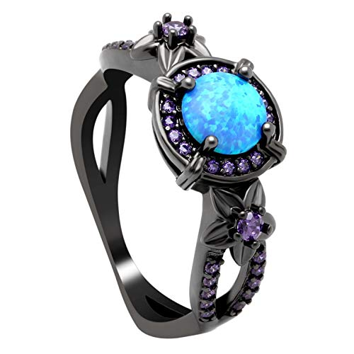 Ginger Lyne Collection Sloane Blue Black Plated Simulated Fire Opal Purple CZ Ring