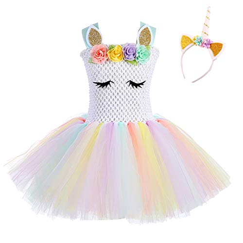 Kids Girls Unicorn Tutus Dress Birthday Party Costumes Rainbow -