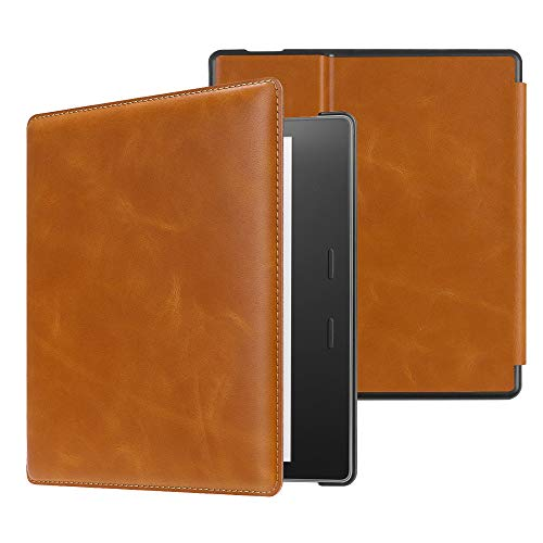 CaseBot Genuine Leather Case for All-New Kindle Oasis (10th Generation, 2019 Release and 9th Generaion, 2017 Release) - Slim Fit Protective Cover with Auto Wake Sleep, Brown