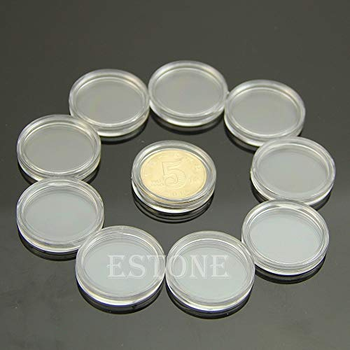 Storage Boxes & Bins - 10pcs Applied Clear Round Cases Coin Storage Capsules Holder Plastic 22mm - Flips Round Nickels Cabinet Pages Safe Coins Collectors Guardhouse Tray Quarter Silver - Pcgs Nickels