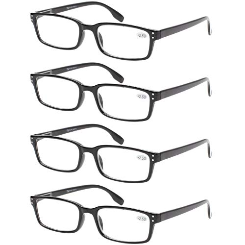 READING GLASSES 4 Pack Spring Hinge Comfort Readers Plastic Includes Sun Readers (4 Pack Black, 2.00)