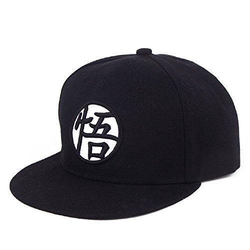 Dragon Ball Z Goku Baseball Cap Hat Canvas Cap Hip-Hop Flat Adjustable Hat (Black)