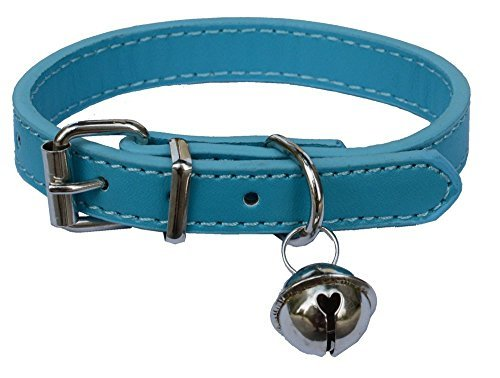 """Sky Blue Fashion Leather Pet Collars for Cats,baby Puppies Dogs,adjustable 8""""-10.5"""" Kitten Collar with Bell"""