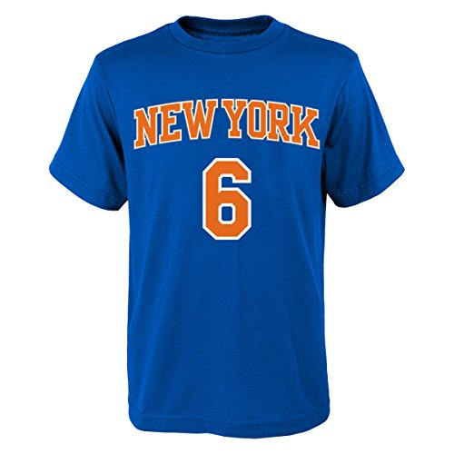 Kristaps Porzingis New York Knicks Youth Blue Name and Number Player T-shirt Medium 10-12
