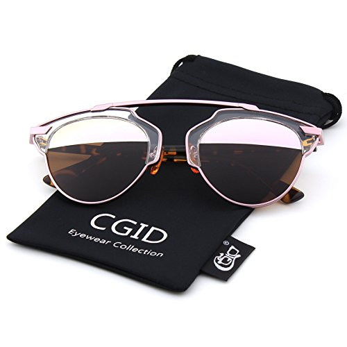 CGID Fashion Polarized Pantos Shape Bar Brow Metal Rimmed Aviator Sunglasses,Pink-Brown (Brow Bar)