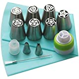 13 Pcs Russian Piping Tips Set - 7 Russian Piping Tips, 2 Leaf Nozzles, 1 Reusable Silicone Icing Bag, 2 Couplers and 1…