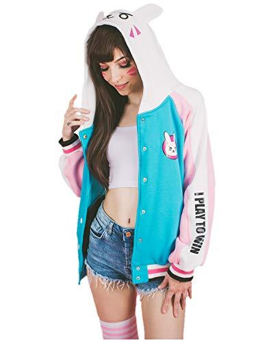 Sweet Bunny Costume (DAZCOS Sweet Bunny Girl Pink Blue Jacket Cosplay Hoodie)