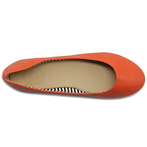 Ollio Womens Shoe Ballet Basic Light Comfort Round Toe Flat Orange RSAUUf2fD