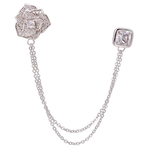(Silver Tone Crystal Rose Flower Brooches Pins with Chain Tassel Collar Lapel Pin Sweater Guard Clip)