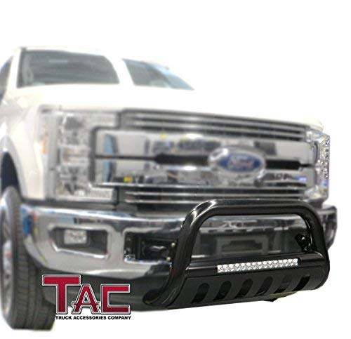 TAC LED Lighting Bull Bar Fit 2007-2019 Toyota Tundra Truck Pickup 2008-2018 Toyota Sequoia SUV 3 inches Black Front Brush Bumper Guard Grille Guard with LED Off-Road Lights Accessories