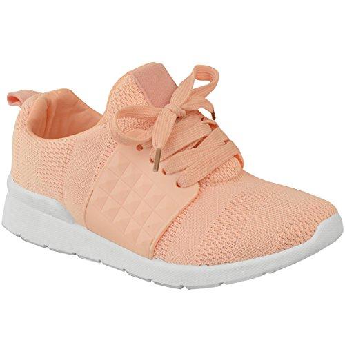 Fashion Thirsty Womens Sport Fashion Sneakers Fitness Flat Shoe Size Peach Knit