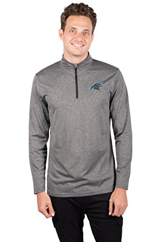 ICER Brands Men's Quarter Zip Pullover Shirt Athletic Quick Dry Tee, Gray, Heather Charcoal 18, - Panthers Sweatshirt Carolina