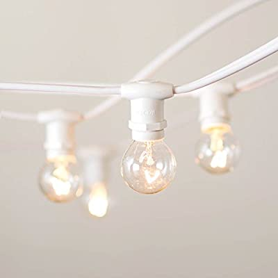 Commercial Globe String Lights, 50 foot E12 White Wire, 1.25 Inch G30 Bulbs, Heavy Duty, Outdoor, Wedding, Market, Cafe, Patio, Backyard, Tent Lights, Marquee, (White Wire), (Clear Warm White)