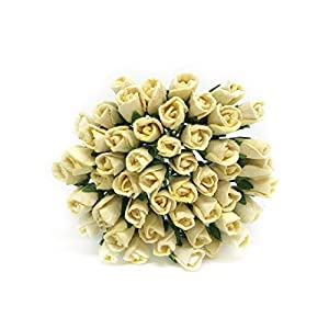 1cm Yellow Paper Roses, Mulberry Paper Flowers, Artificial Rose, Miniature Flowers, Miniature Rose, DIY Bouquet, Scrapbooking Flowers 50 Pieces 120
