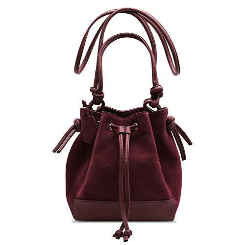(Fashion Women Split Leather Shoulder Bag Female Suede Casual Crossbody Bucket Handbag Casual,Burgundy)