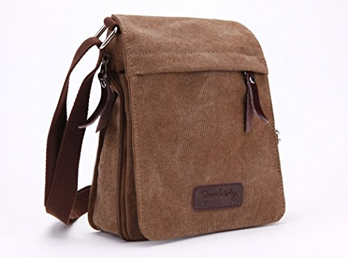 Berchirly Small Vintage Canvas Leather Messenger Cross body bag Pack Organizer