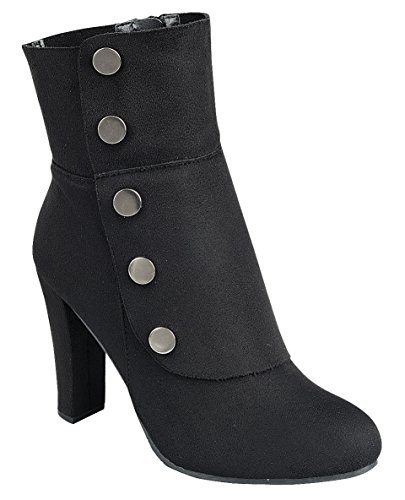 Cambridge Select Women's Victorian Steampunk Side Button Chunky Heel Ankle Boot 4