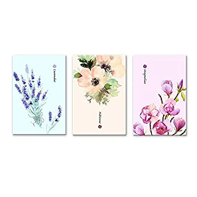 3 Panel Watercolor Style Flowers Magnolias Lavender and Hibiscus x 3 Panels, it is good, Dazzling Piece