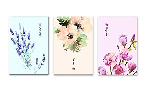 3 Panel Watercolor Style Flowers Magnolias Lavender and Hibiscus x 3 Panels