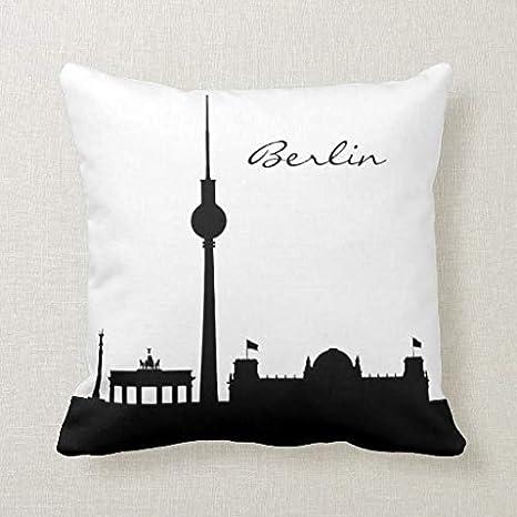 CELYCASY Funda de cojín Decorativa de Berlín Blanco y Negro ...