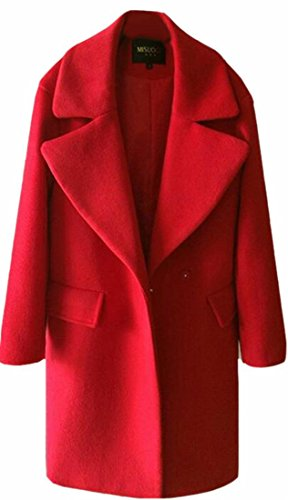 Winter Women Long Blended Lapel UK Wool Overcoat Coat today Red Casual Pea Coat nxOIq15wI8