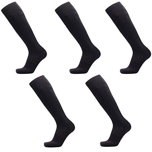 October Elf Unisex Knee High Athletic Soccer Tube Socks Pack of 5 pairs (Black),One Size High Five Soccer